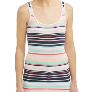 STRETCH STRIPED TANK TOP SHIRT RIBBED WHITE PINK